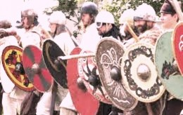 Viking shield-wall formation - defensive, yet can be used as an attack tactic