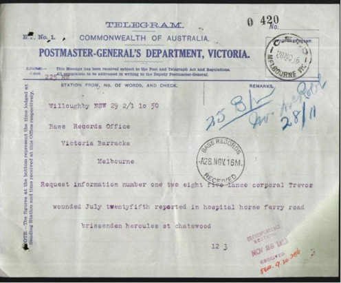 Telegram sent by his mother requesting more information about Reginald's condition.