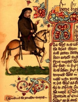 Image of Chaucer as a pilgrim from the Ellesmere Manuscript, an early publishing of the Canterbury Tales.  Source:  Wikimedia Commons.