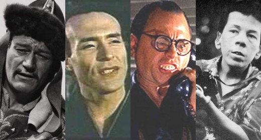 John Wayne, Ricardo Montalban, Mickey Rooney, and Helen Hunt are non-Asians who played an Asian role.