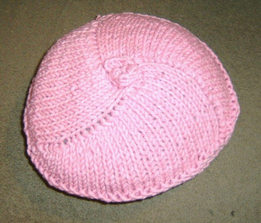 Top view of finished breast.  Yarn used was 50% acrylic /50% cotton.