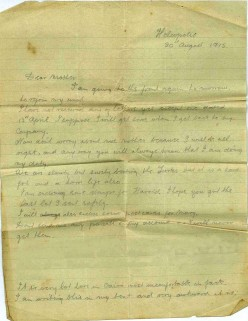 20th August 1915: Letter from Cairo - World War One