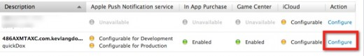 Configure iCloud in the Push Notifications.