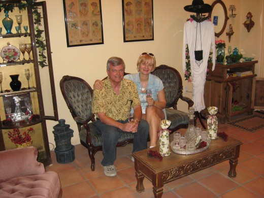 Relaxing in the Victorian Era surroundings of the Crop Circle Winery's Visitor Center