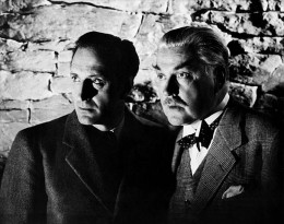 Basil Rathbone and Nigel Bruce as Sherlock Holmes and Dr. Watson