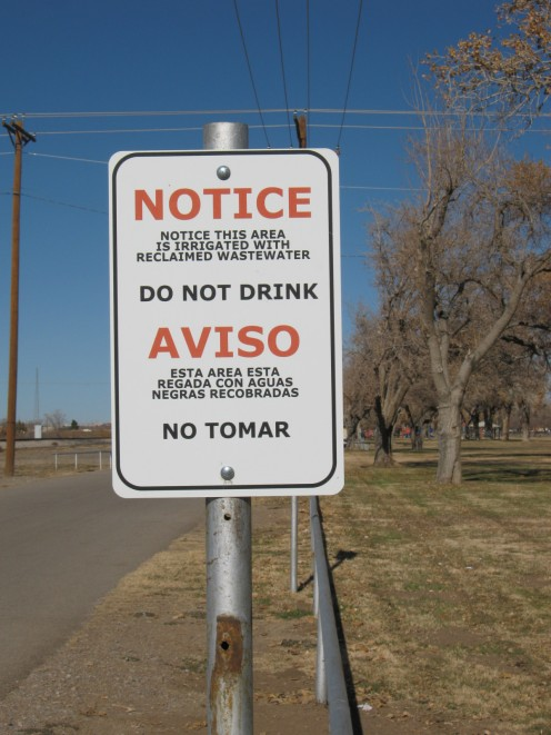 Reclaimed water sign in Alameda Park.