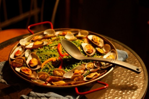 Seafood paella with saffron.