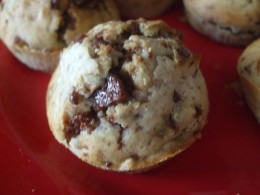 A warm yummy chocolate chip muffin!