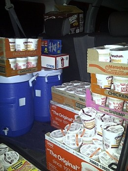 Cases of Soup, Thermoses of Hot water, water bottles, forks and snacks