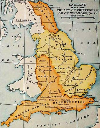 The kingdoms in AD878 after the initial treaty of Wedmore between Aelfred and Guthrum
