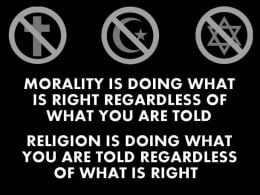 This poster tells it all in a nutshell. Real religion should be inclusive of economy and morality. Those who understand the real message in the Bible understand that this is one of the major ideas therein.