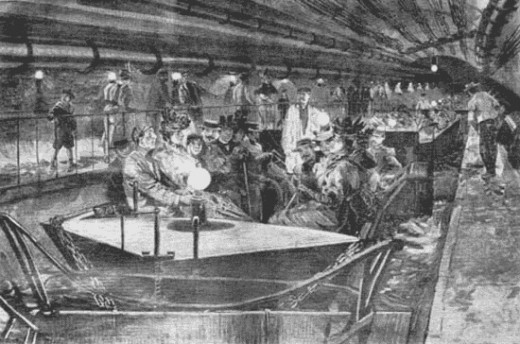 Paris sewers: criminal underworld and tourist trap.  Here, a boatload of tourists in the 1890s.