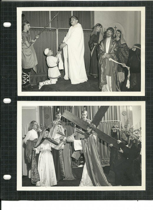 Upper Photo - My Brother as Pontius Pilate Lower Photo - I am the Roman Soldier on the Right