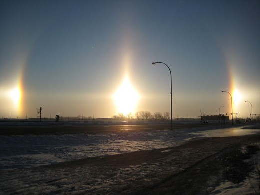 Sundogs in Fargo, North Dakota. Taken February 18th, 2009.