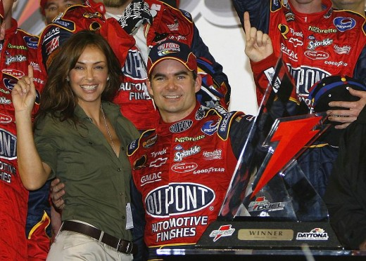 THE LOVELY INGRID VANDELBOSH, WIFE OF SPRINT CUP DRIVER, JEFF GORDON. SEE THE SMILE ON HER FACE? JEFF KNOWS HOW TO KEEP THE FIRES OF PASSION BURNING IN HIS MARRIAGE.