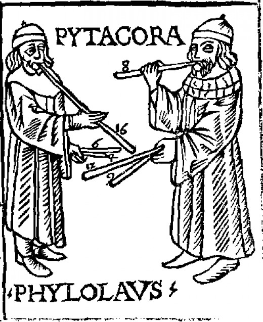 """Pythagoras and Philolaus experimenting with musical pipes. From """"Theorica musicae"""" by Franchino Gaffurio."""