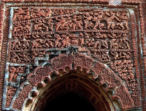 "Overcrowded and figures formed as ""Monkey's and 'Rakhsasa's. War scene from Ramayana. Pancha Ratna Temple : Bishnupur."
