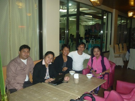 Birthday celebration On January 10, 2012 with daughter-husband, best friend and ex-colleague in Bale Capampangan.