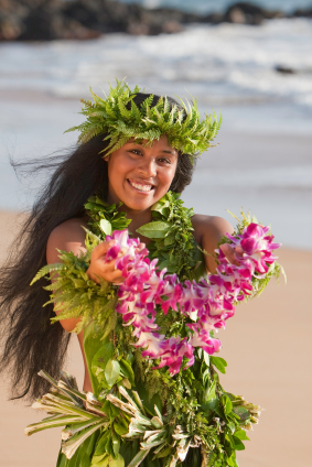 "Beautiful dancer presenting a ""Lei of Aloha"""