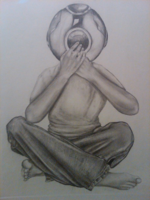 This is pencil on paper done by myself. It depicts the confusion I felt at the time....but I think that's obvious
