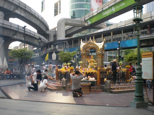 Erawan Shrine, Bangkok, Thailand: a clear example of the way Buddhism is present in everyday life and comprises an important part of Thai culture.