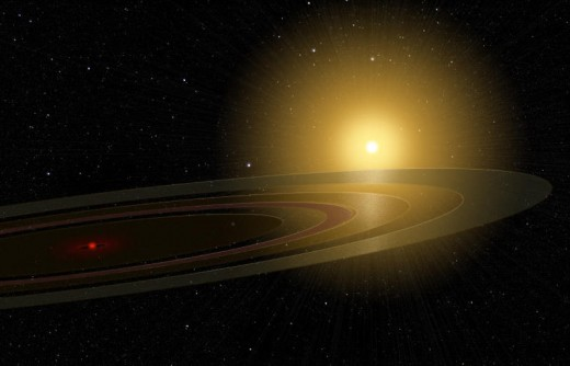 Artist's conception of the ringed companion to 1SWASP J140747.93-394542.6.
