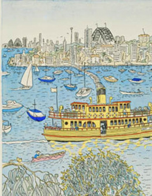 Portion of a print by Lavender Bay artist and Nutcote neighbour, artist Peter Kingston - one of the group which successfully lobbied for Hertage protection - for May Gibbs' home.
