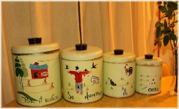 This set of vintage metal canisters has been given a facelift with this delightful paint job!
