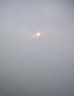 Sunrise in the blurr and misty sky on one side...