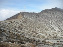 landscape on the summit of the Ijen Crater, you can see the narrow yellow track...