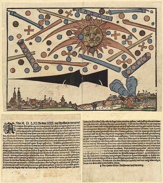 "An early form of newspaper known as a ""News notice"", describing the aerial phenomenon that happened in the skies over Nuremberg on April 4th, 1561."