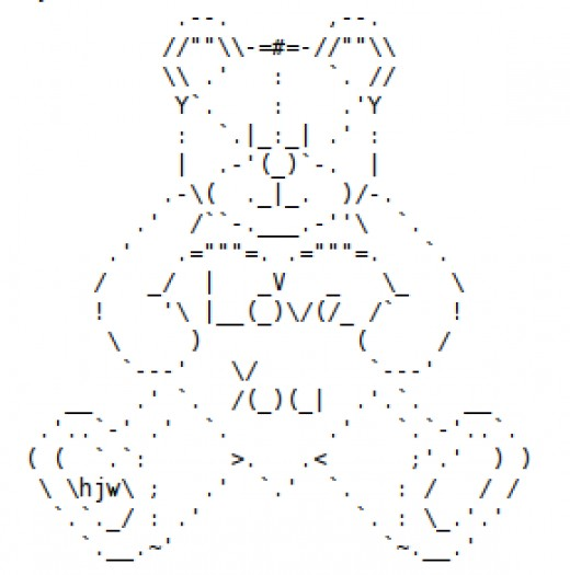 One Line Ascii Art Hearts : Valentine s day teddy bears hearts and flowers in ascii
