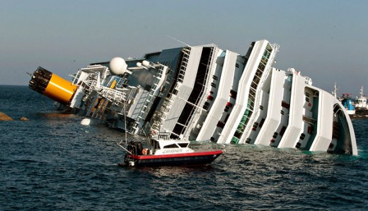 Costa Concordia Luxury Cruiser Aground with 4,000 Passengers--She looks a bit top-heavy to me.