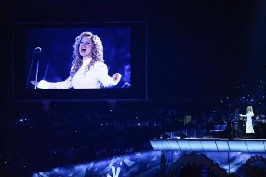 Lara Fabian performing at the opening ceremony of the Asian Winter Games in Astana, Kazakhstan. January 30th, 2011.