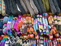 colorful knitted gloves