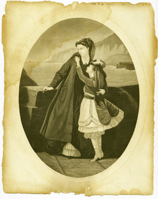 """The Return"", mid-1800s engraving by George E. Perine, published by Moore & Co."