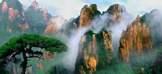 Misty mountain scene in Jiangxi, China