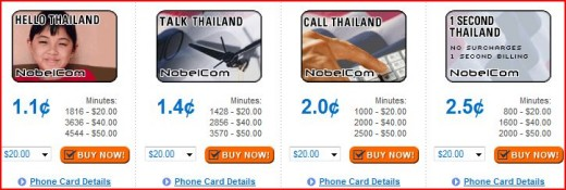 Four Thailand Phone Cards Offered By Nobelcom