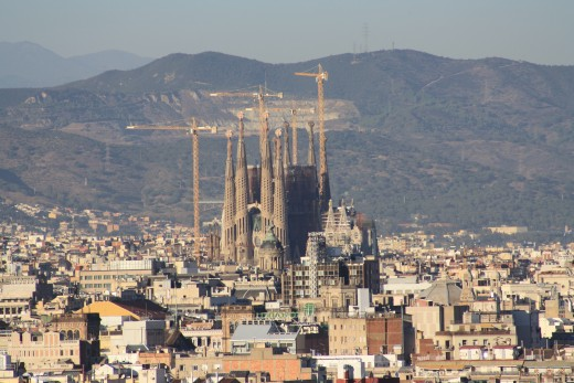 Magic Fountain of Montjuic Surroundings, Panorama View of Sagrada Familia at Daytime, Barcelona, Spain