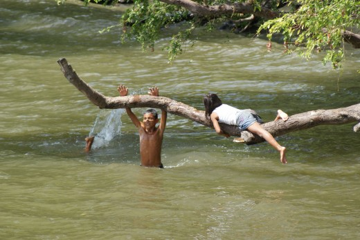 "Kids playing ""who can hang on longest to the moving branch.""  One boy got dumped in.  The girl is still hanging on."