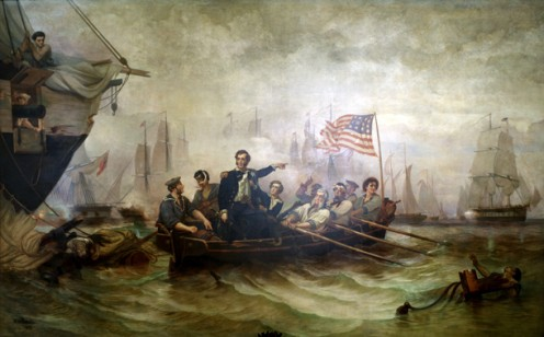 Battle of Lake Erie in 1813, painted  by William H. Powell in 1865: Oliver Hazard Perry transfers from US Brig Lawrence to US Brig Niagara. See list of Battles farther below.