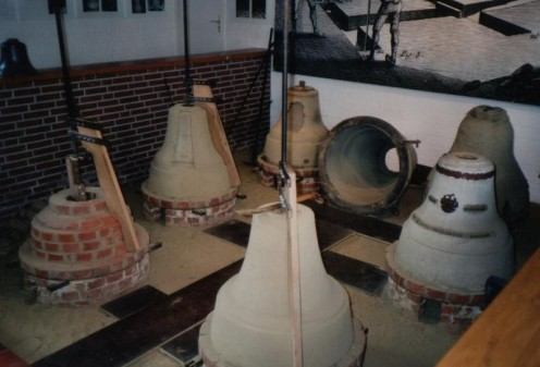 Construction of the moulds for casting of a church bell at the Glockenmuseum Gescher (Geschger Bell Museum). Showing the stages in construction of the outer mould (the cope).
