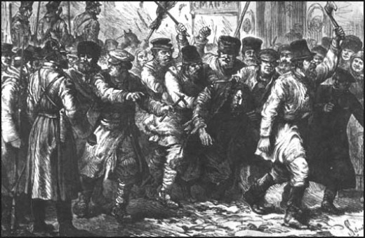 Engraving showing a nineteenth century pogrom