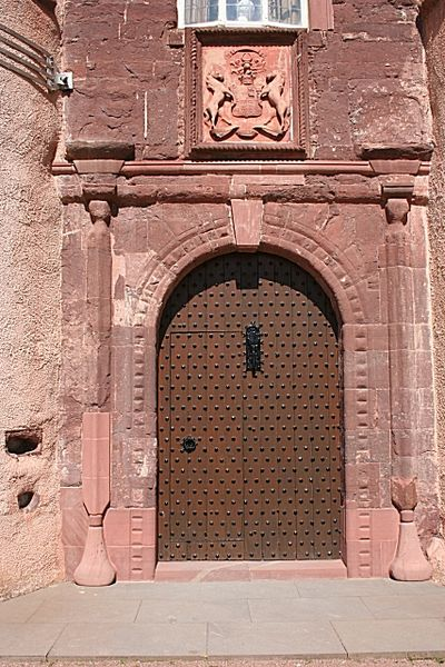 The door of Fyvie Castle that is alleged to have been slammed shut by accident, in the face of the prophet, Thomas the Ryhmer.