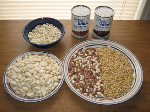 Cannellini (in blue bowl), Lima (large white beans on small plate), Mexican Beans (yellow beans on large plate), miscellaneous beans (on large plate). Black beans and Chili beans in the cans.