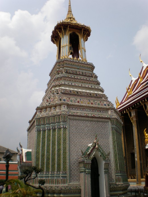 Singular religious building with rare structural elements and design, unique to Wat Phra Kaew Buddhist Temple in Bangkok, Thailand.