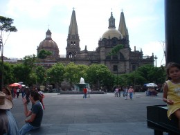 View of the Catedral from Plaza Tapatia in Guadalajara