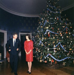 The White House has their own festivities at Christmas.  What a tree.  John and Jackie Kennedy.