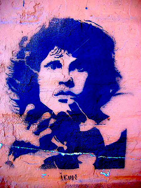 Argentinian graffitto image of Jim Morrison.  Image courtesy Wikimedia Commons, processed by author.