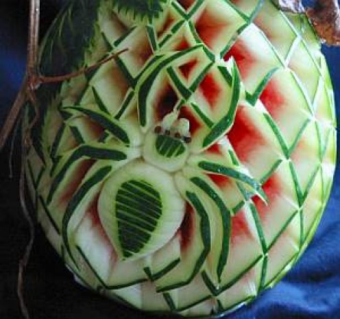 A watermelon carving inspired by Thai tradition